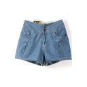 Light Blue High Waist Pockets Zippered Shorts