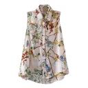 Apricot Sleeveless Chiffon Flower Shirt