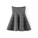 Houndstooth Print High Waist Ruffle Hem Skirt