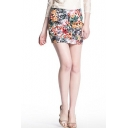 Floral Print Mini Pencil Skirt