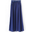 Blue Plain Chiffon Belted Maxi Skirt
