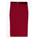 Plain Belted High Waist Pencil Midi Skirt