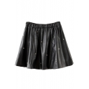 Black PU Rivet Embellish Elastic Waist Short Skirt