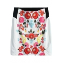 Bright Floral Print Mini Pencil Skirt