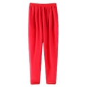Red Chiffon Sheer Harem Split Pants