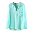 Light Green Long Sleeve Pocket V-Neck Chiffon Blouse
