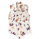 Cream Sleeveless Tie Waist Butterfly Chiffon Shirt