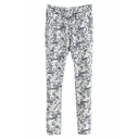 Ink Painting Print Drawstring Waist Pencil Pants