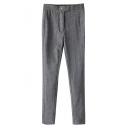 Gray Double Button Elastic Pencil Pants