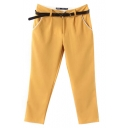 Yellow Fitted Harem Casual Crop Pants