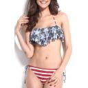 Flag Print Halter Tie Back Tassel Bikini Set