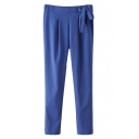 Blue Bow Waist Loose Harem Pants