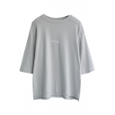 Gray 1/2 Sleeve Smile Print Loose T-Shirt