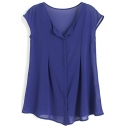 Blue Round Neck Sleeveless Chiffon Top