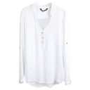 White V-Neck Long Sleeve Button Top