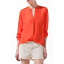 Orange Long Sleeve Stand-Up Collar Blouse