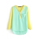 Color Block V-Neck Long Sleeve Chiffon Top