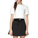 White Short Sleeve Round Neck Short T-Shirt