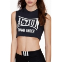 Black Round Neck Action Print Crop T-Shirt