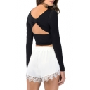 Back Bow&Cutout Crop Black T-Shirt