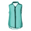 Green Illusion Chiffon Sleeveless Shirt