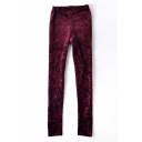 Burgundy Elastic Waist Floral Pattern Leggings