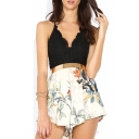 Black V-Neck Lace Top Ruffle Hem Floral Print Rompers