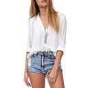 White Long Sleeve Stand Up Collar V-Neck Blouse