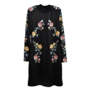 Black Floral Print Long Sleeve Dress