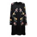 Black Floral Print Long Sleeve Dress