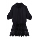 Black Long Sleeve Lace Insert Hem Fitted Blouse