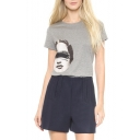 Gray Short Sleeve Lady Pattern Panel T-Shirt