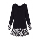 Floral Print Inserted Round Neck Long Sleeve Dress