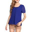Dark Blue Short Sleeve Pleated Front Chiffon Blouse