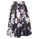 Peach Blossom Print Elastic Waist Pleated Skirt