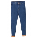 Dark Blue Double Pockets Back Pencil Jeans with Velvet Inside