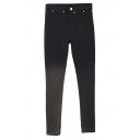Black Faded Color Beaded Waist High Waist Pencil Jeans