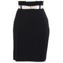 Plain Belted Waist Midi Skirt with Wrinkled Waist