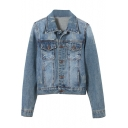 Vintage Blue Single-Breasted Fitted Denim Jacket