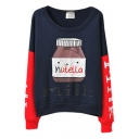 Navy Letter Milk Bottle Pattern Color Block Round Neck Sweatshirt