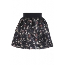Dark Color Wool Print Elastic Waist Skirt