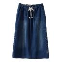 Denim Wide Pockets Drawstring Waist Geometric Embroidered Skirt