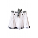 Stripe Hem Belted Buttons Pleated Mini Skirt
