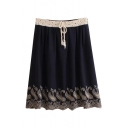 Tribal Embroidered Lace Crochet Drawstring Waist Pleated Midi Skirt