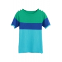 Color Block Style Short Sleeve Buttons Embellish Sweater