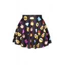 Hot Emoji Print Elastic Waist A-Line Mini Skirt