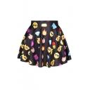 Hot Emoji Print Elastic Waist A-Line Mini Skirt