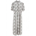 Vintage Flower Stand Collar Gathered Waist Chiffon Short Sleeve Dress