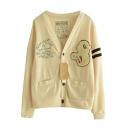 Preppy Style Applique Button Fly Cardigan