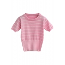 Elegant Striped Short Sleeve Round Neck Crop Knitted Sweater